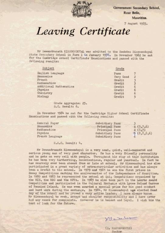 Leaving Certificate Dave Kissoondoyal
